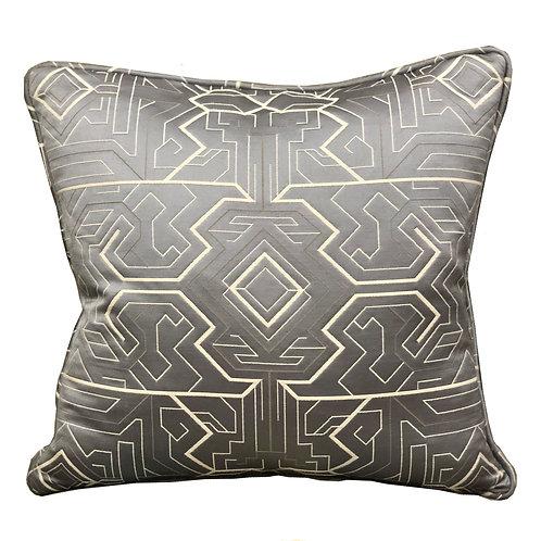 Daria Moss Silver Geometric Luxury Throw Pillow
