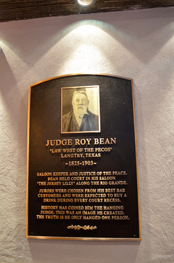Judge Roy Bean Plaque
