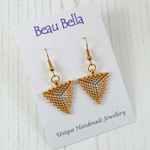Modern Gold and Silver Triangle Earrings