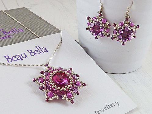 Jewellery Set - Fuchsia Pink Mandala Flower Pendant & Earrings