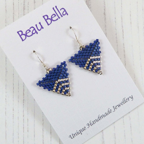 Navy and Silver Chevron Triangle Earrings