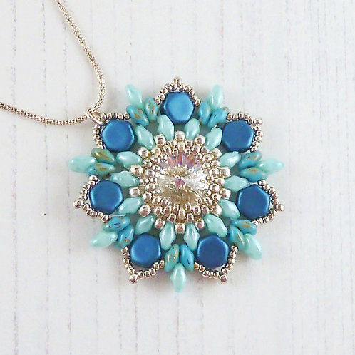 Sparkling Blue Flower Necklace with Swarovski Crystal
