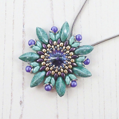 Purple & Green Passion Flower Necklace with Swarovski Crystal