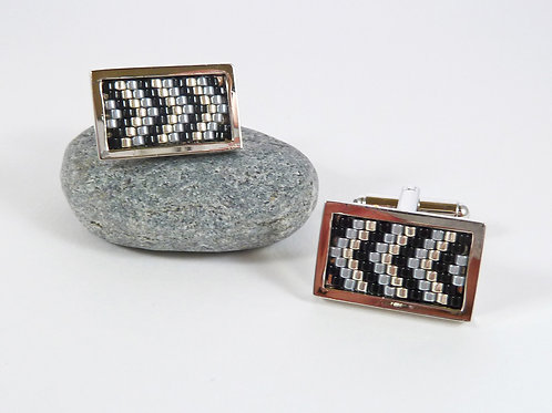 Black and Grey Chrome Rectangle Cufflinks