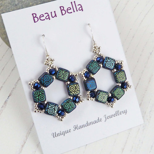 Dark Blue Hexagon Geometric Earrings, Bead Earrings