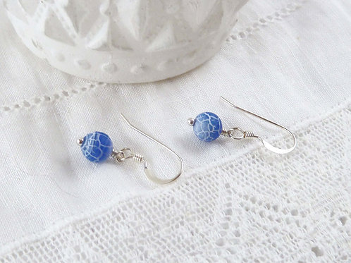 Blue Crackle Agate and Sterling Silver Dangle Earrings