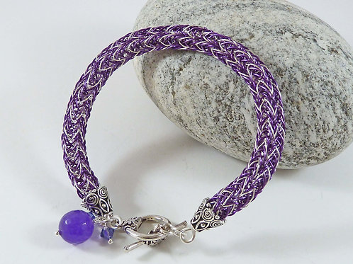 Purple Viking Knit Wirework Bracelet with Amethyst Gemstone (Small Size)