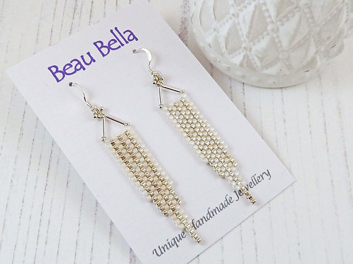 Long White and Silver Art Deco Dangle Earrings