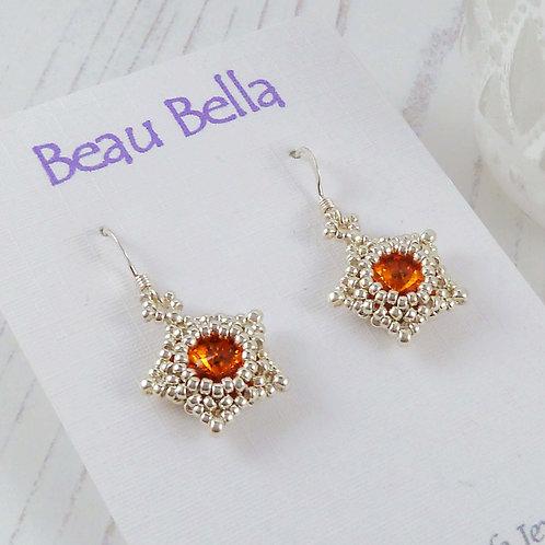 Bright Orange Star Shape Crystal Earrings with Swarovski Stones