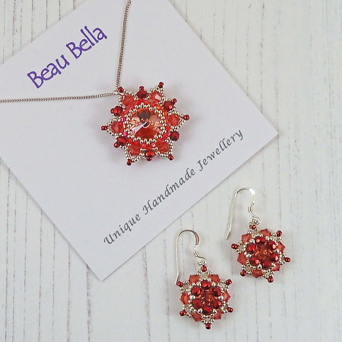 Jewellery Set - Pale Red Mandala Flower Pendant & Earrings