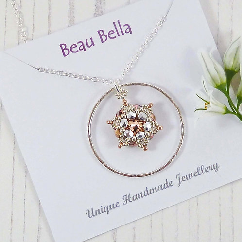 Long Necklace with Rose Gold Star and Silver Circle