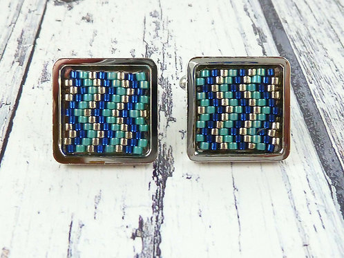 Blue and Turquoise Patterned Square Cuff Links