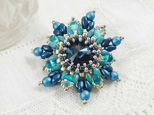 Turquoise Flower Brooch with Swarovski Rivoli