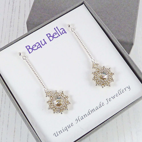 Long Dangling Silver Star Earrings with Swarovski Crystals