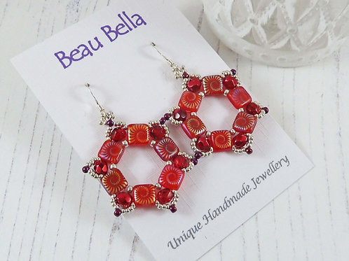 Bright Scarlett Hexagon Geometric Earrings, with Sea Shell pattern