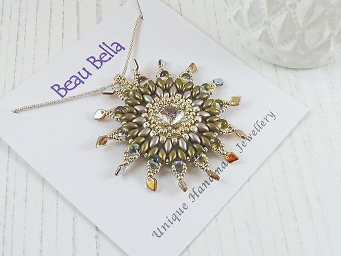 Large Sparkly Flower Pendant in Green Tones with Swarovski Crystals