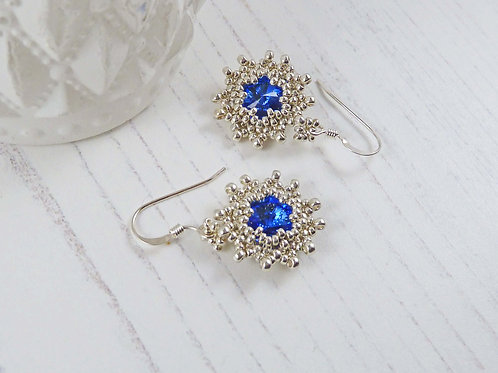 Blue Sparkly Sapphire Crystal Star Earrings