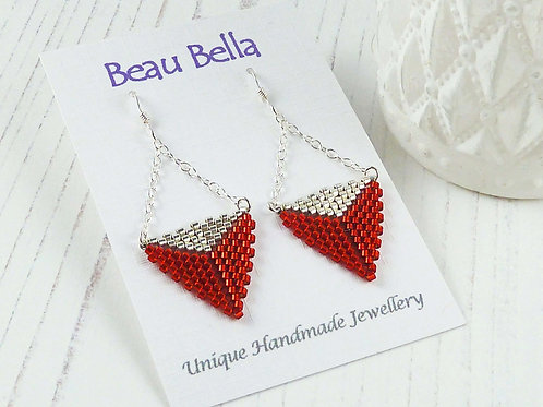 Long Red & Silver Two Tone Dangling Triangle Earrings