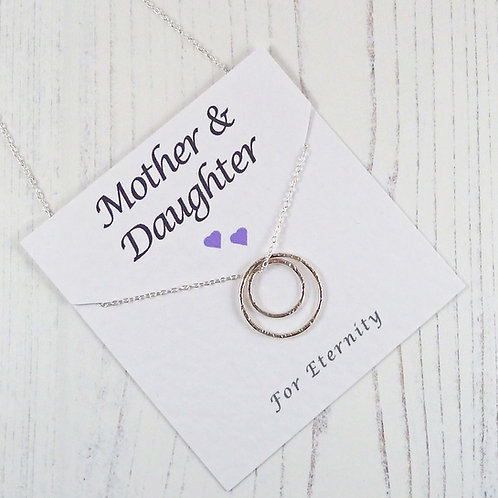 Eternity Circle Necklace for a Mother or Daughter with Special Message Card