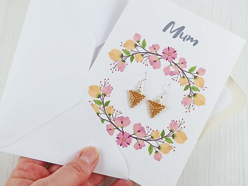 Floral Mother's Day Card and Gold Triangle Earrings Gift