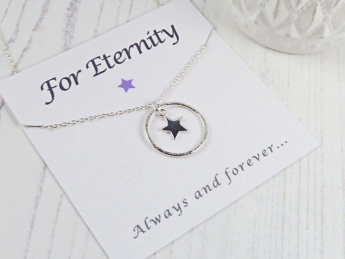 For Eternity Circle and Star Necklace with Message Card