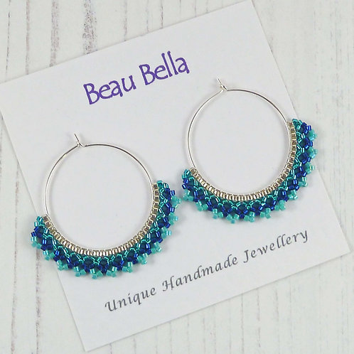 Turquoise and Blue Hoop Earrings