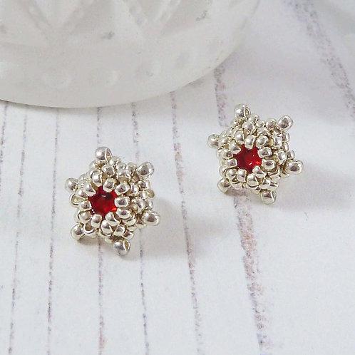 Dainty Red & Silver Star Shape Stud Earrings