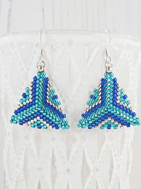 Multi Blue Patterned Triangle Dangle Earrings