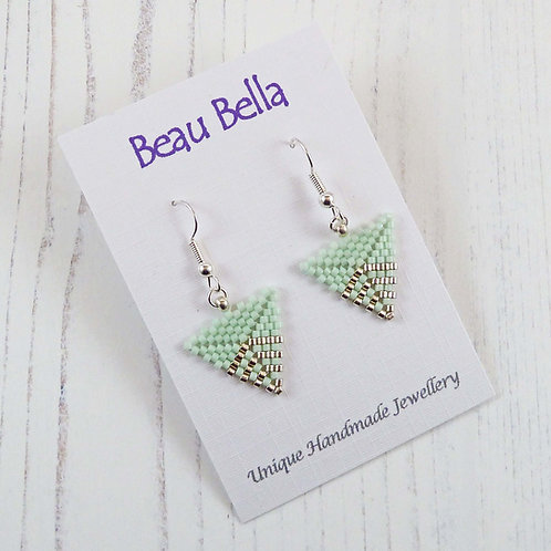 Pale Green and Silver Delicate Triangle Earrings