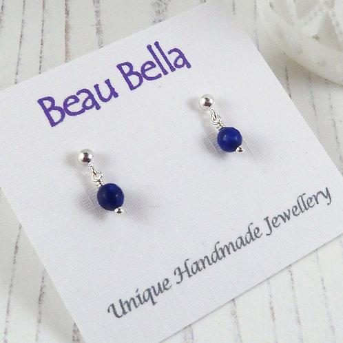 Tiny Lapis Lazuli Gemstone Stud Earrings