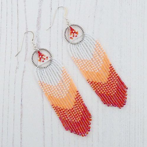 Long Red and Orange Fringe Earrings