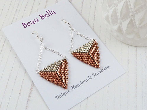 Copper and Silver Triangle Dangle Earrings