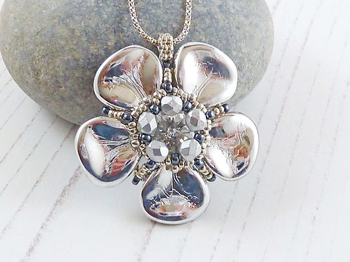 Large Silver Flower Necklace with Swarovski Crystal