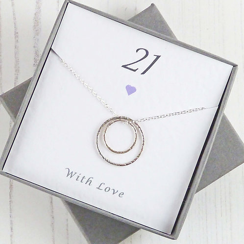 21st Birthday Gift - Silver Eternity Circle Necklace