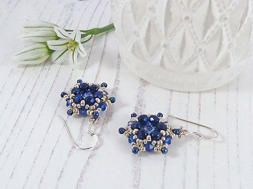 Large Sapphire Blue Flower Earrings