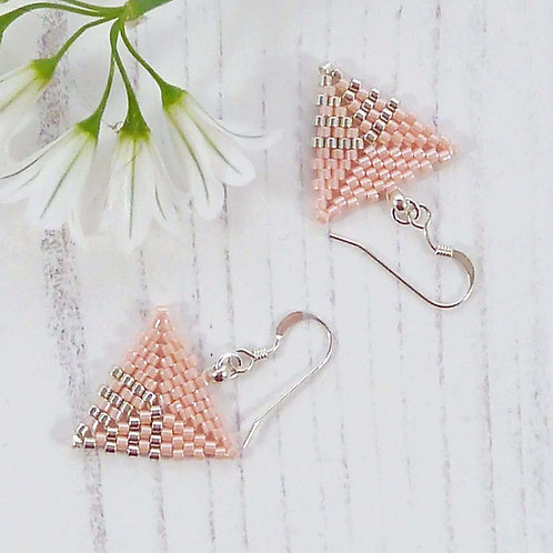 Peach Seed Bead Triangle Earrings