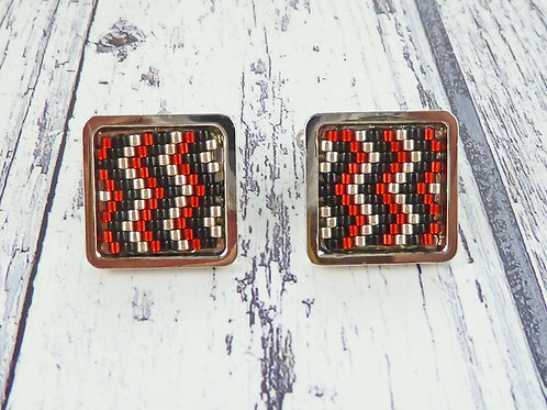 Red and Black Patterned Square Cuff Links