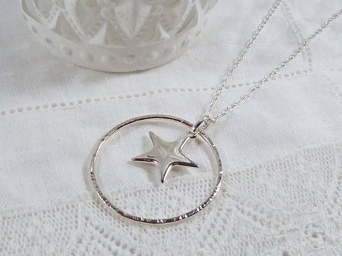 Long Sterling Silver Star and Circle Necklace