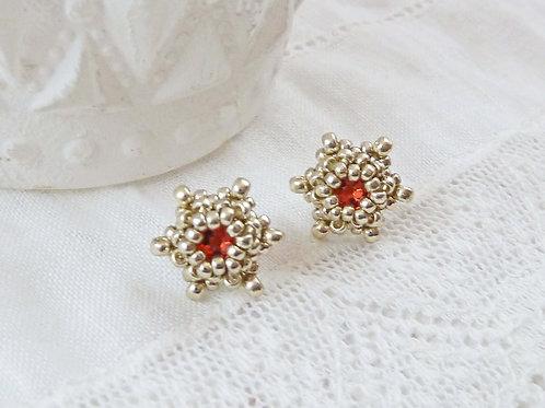 Dainty Peach Star Shape Stud Earrings with Swarovski crystals