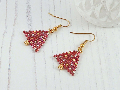 Sparkly Red Christmas Tree Earrings