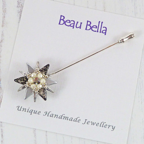 Sparkling Silver Flower Brooch Pin