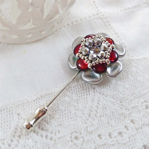 Red and Silver Chrysanthemum Pin Brooch
