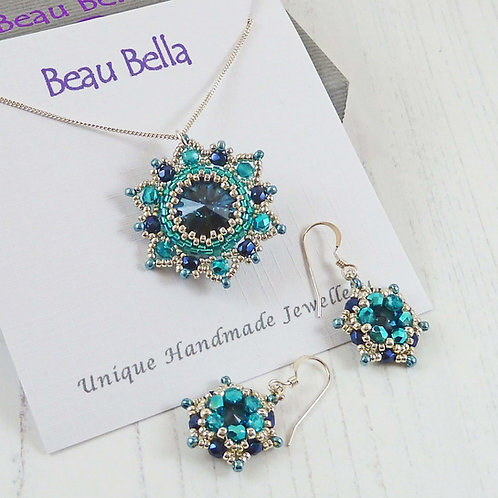 Jewellery Set - Blue Mandala Flower Pendant & Earrings