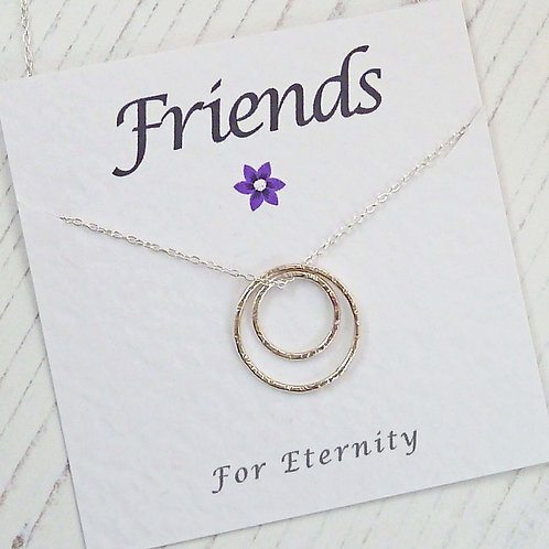Silver Circle Eternity Necklace For a Friend, with Special Message Car
