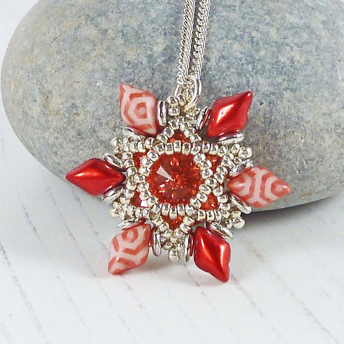 Red Beaded Flower Pendant Necklace with Swarovski Crystal