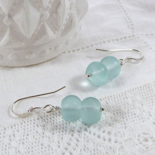 Ocean Earrings - in Sterling Silver with Sea Glass Beads