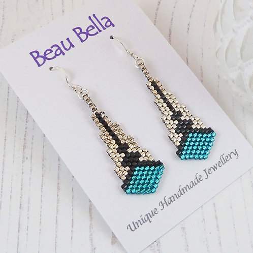 Green, Silver & Black Art Deco Style Dangle Earrings