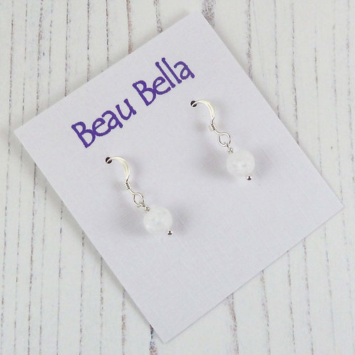 Small White Rock Crystal Dangle Earrings, handcrafted in Sterling Silver