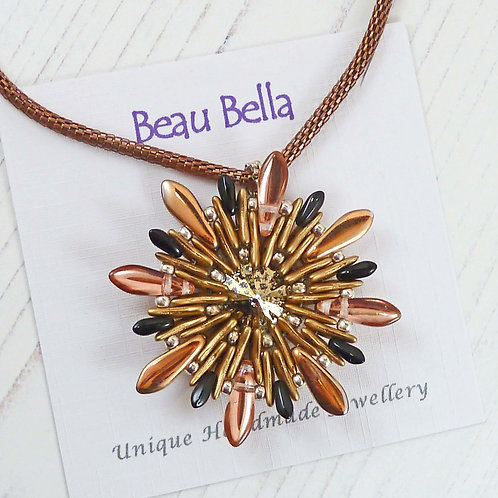 Copper and Gold Flower Pendant, with Swarovski Rivoli