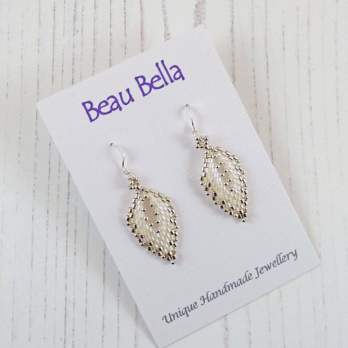 Silver & White Russian Leaf Earrings Hand-stitched with Seed Beads